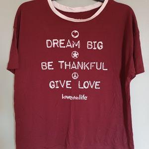 Love This Life Girls Maroon T-Shirt